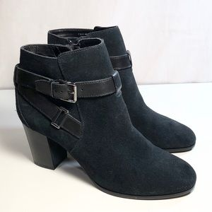 Cole Haan Minna Black Suede Ankle Boot Bootie 7.5